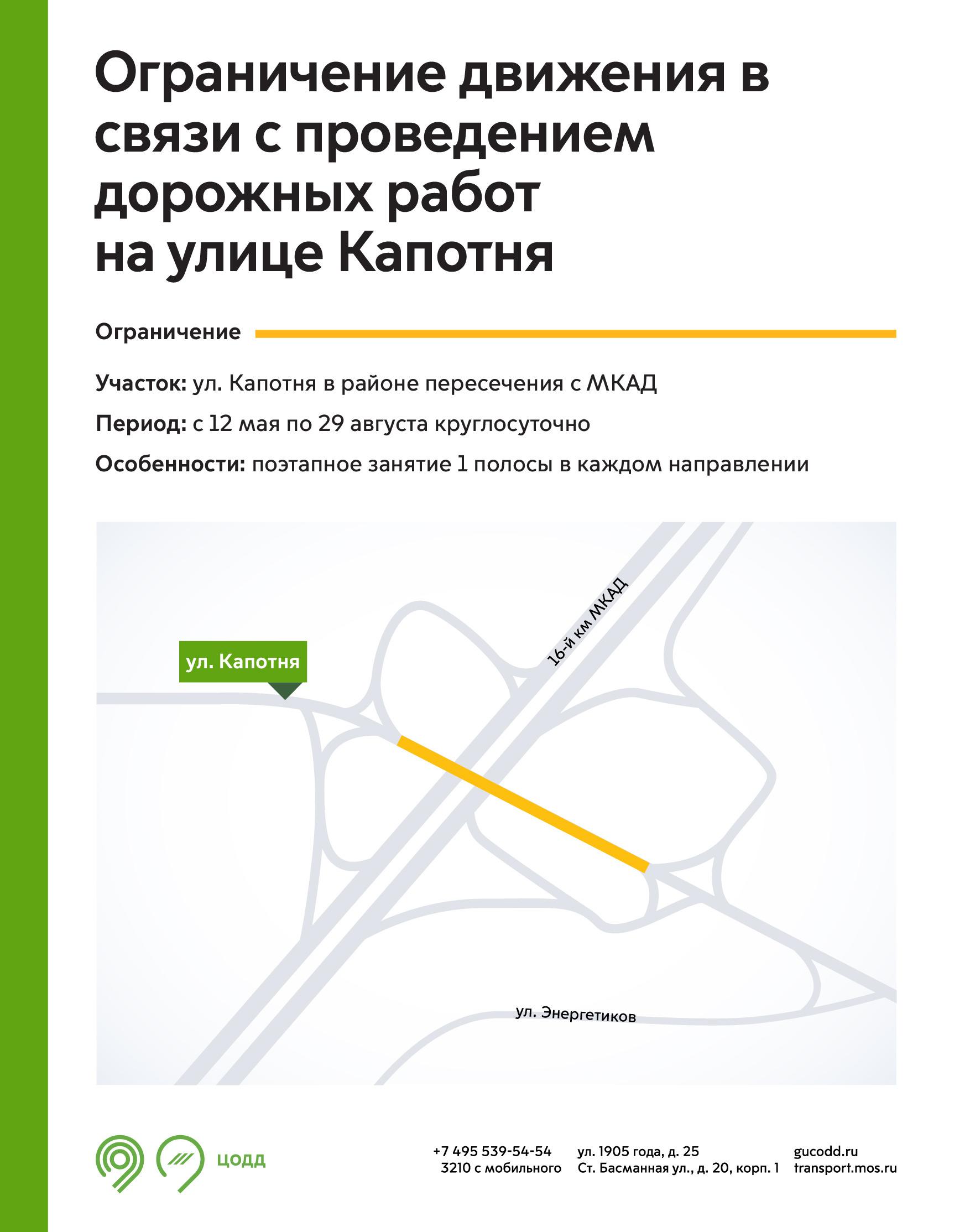 На пересечении улицы Капотня и МКАД ограничат движение Изображение: mos.ru